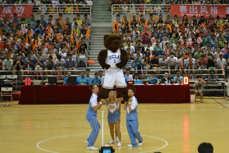 August 28th, 2012 - The UCLA Spirt Team performs for the crowd in Shanghai during a game between the Sharks and Bruins