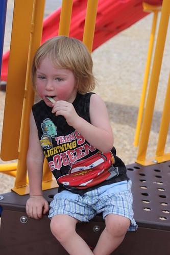 Enjoying a stolen popsicle