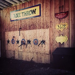 Apparently Trent and I missed our calling as professional axe throwers.  (Mine are on the right of the board)