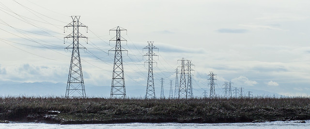 Pylons in perspective - Palo Alto Baylands