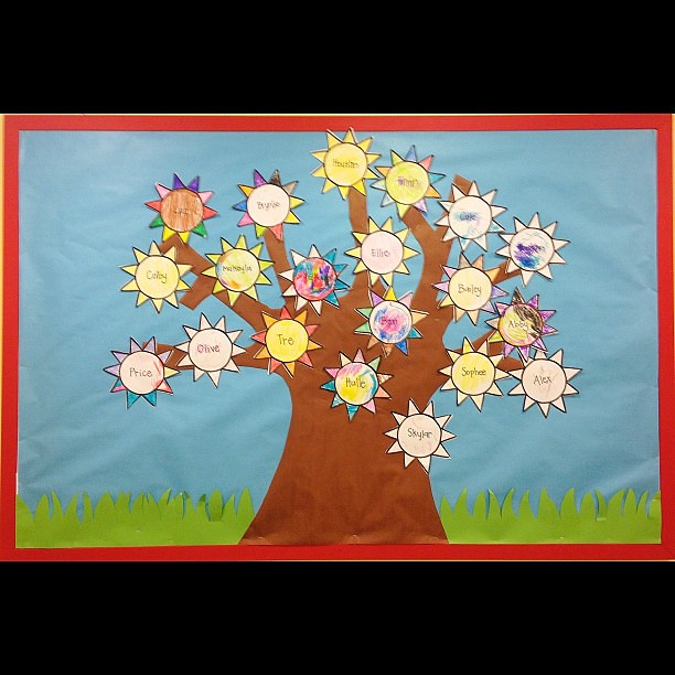 Class Tree. Little rays of sunshine! #brilliantbeginningspreschool #classtree