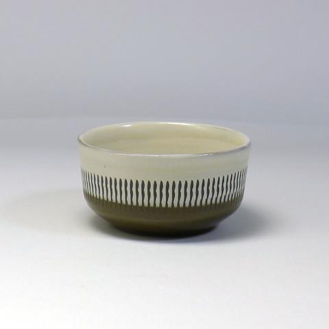 小鹿田焼 小袋定雄窯「ワイン盃/ツートン・飛びかんな」