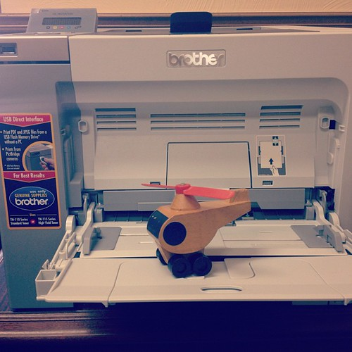Apparently the printer's manual feed tray doubles as a helicopter's landing pad...who knew?