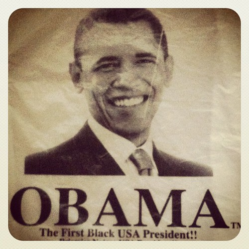 Listening to Clinton's DNC speech. This is an #Obama grocery bag from the #congo. XoS