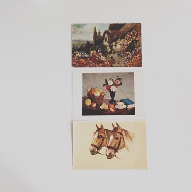 3 vintage postcards from the flea market