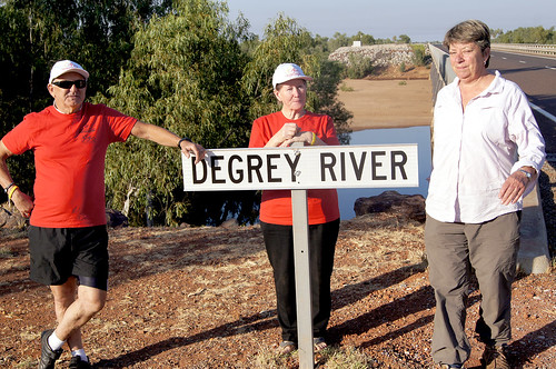 Bevan, Bev and Ruth at the De Grey River
