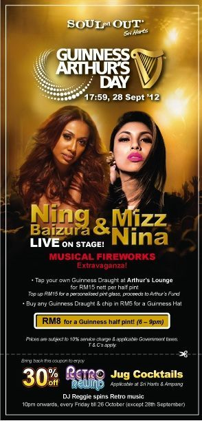 Ning Baizura SOULED OUT Sempena Guinness Arthur's Day