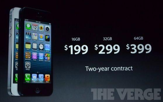 Цена iPhone 5 на 16, 32 и 64 гб