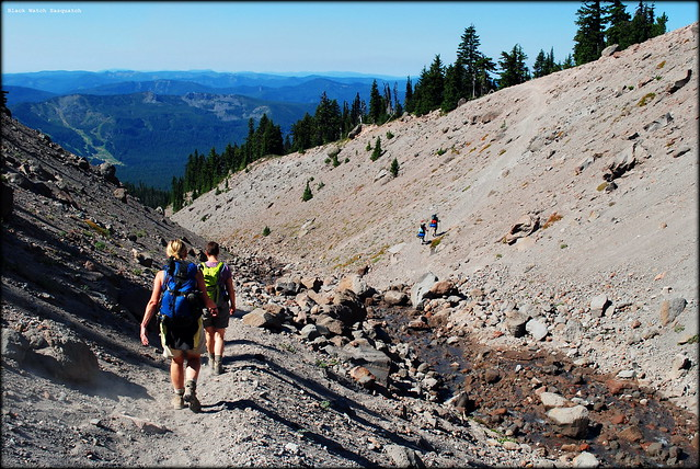 Hikers at Little Zigzag Canyon along the Timberline Trail / PCT headed to Paradise Park
