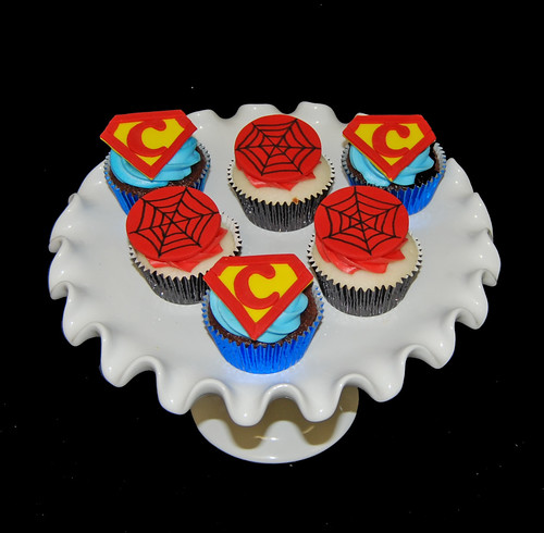 super hero birthday cupcakes on plate