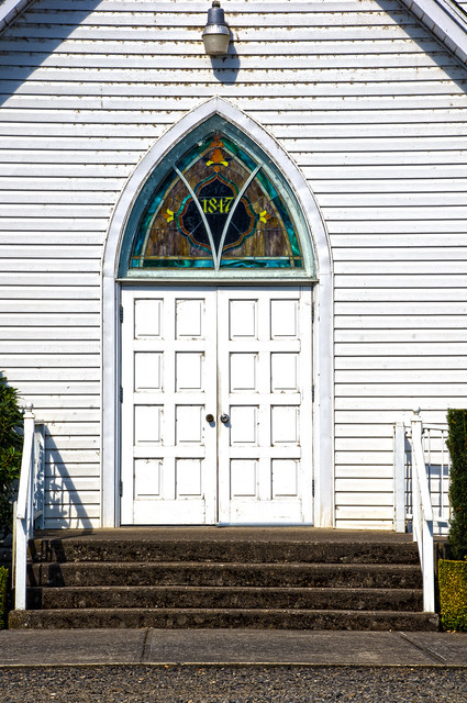 front door of the st louis or catholic church building dates from 1880 church was founded