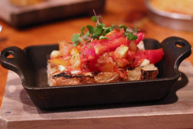 Pickled Tomatoes with Bacon Butter on Grilled Bread at Bluebird Tavern
