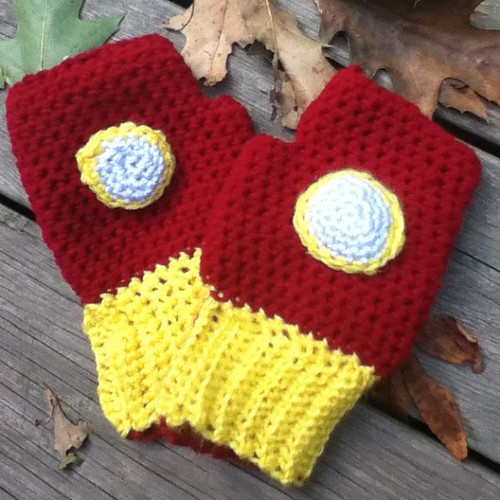 Finished up my husband's Iron Man mitts. He can't wait to wear them to the comic book store :-)