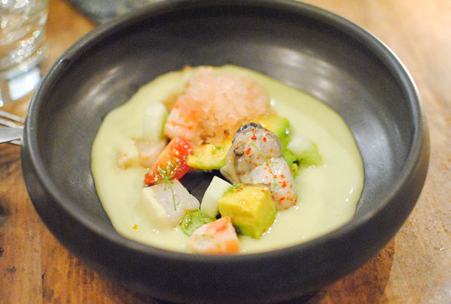 avocado gazpacho hokkaido scallop, king crab, oyster, mariscos cocktail granite