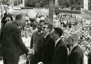 """President E. Wilson Lyon welcomes home the """"fabulous foursome"""" of Dallas Holmes '62, David Renaker '63, Richard Wilsnack '64 and Matthew Cartmill '64, after they retired undefeated from GE's College Bowl quiz program"""