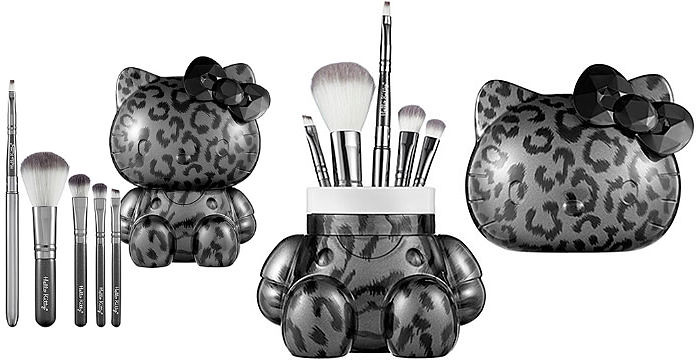 54a7924ba Hello Kitty Wild Thing Brush Set is a five-piece brush set in Hello Kitty-shaped  container, graced with an unusual black leopard print.