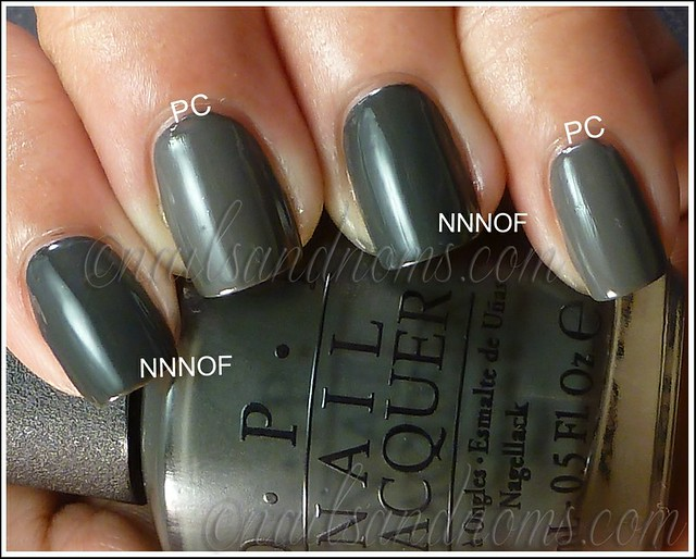 OPI Nein! Nein! Nein! Ok, Fine! vs Essie Power Clutch