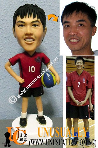 Custom 3D Fully Customized Male In VolleyBall Posture Figurine - © www.unusually.com.sg