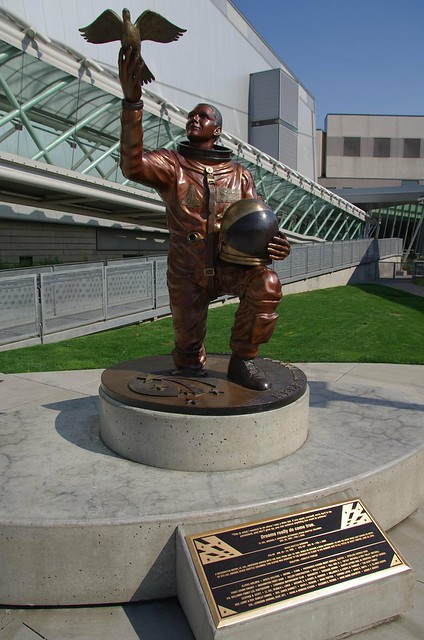 Statue of Lt Col. Michael P Anderson, Astronaut - died with his crewmates on STS-107 Space Shuttle Columbia - Museum of Flight, Seattle