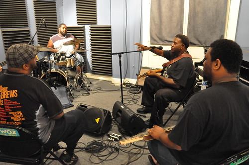 The Lee Boys: Derrick Lee - vocals, Kenneth Walker - drums, Alvin Lee - lead guitar, Roosevelt Collier - lap steel 8-string.  Photo Kichea S Burt