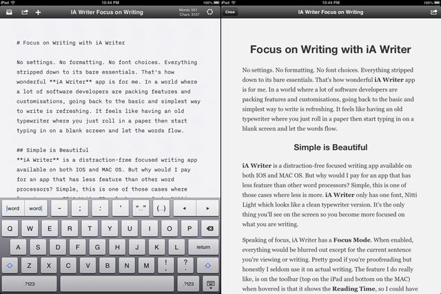Markdown syntax support and preview mode on iPad