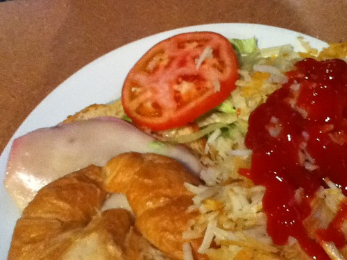 Croissant and hash browns
