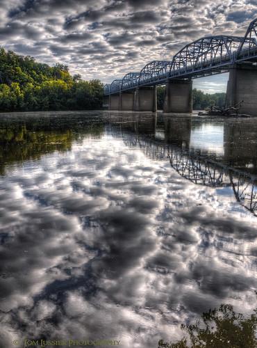 road bridge usa tree water clouds sunrise reflections river virginia landscapes nikon potomacriver loudouncounty tomlussier