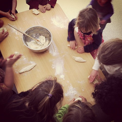 Kneading at co-op #unschooling #bread #coop