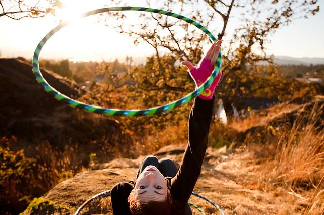 Sara Carle hula hooping in the sun