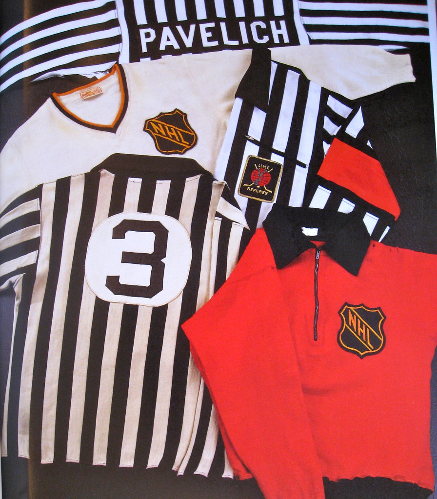 I love seeing old NHL officiating jerseys. The off-white sweater was worn  by Bill Chadwick in the 1940s 356a50557