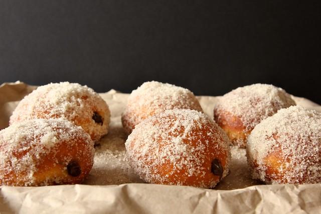 chocolate filled vanilla sugar doughnuts