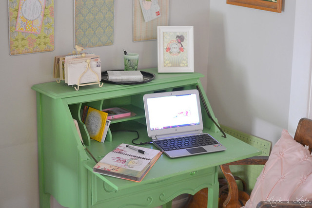 Green secretary desk