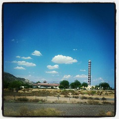 Passing by the World's Tallest Thermometer in Baker, CA, because Elliora is asleep.
