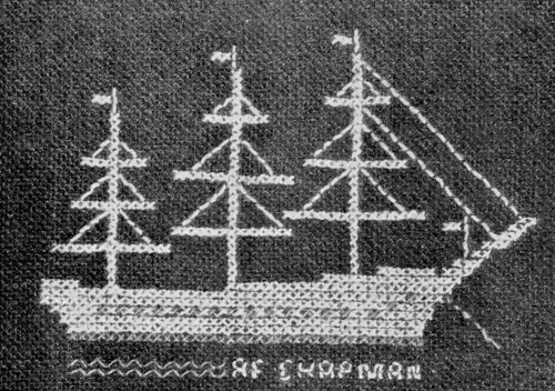 1950s Swedish embroidery ship