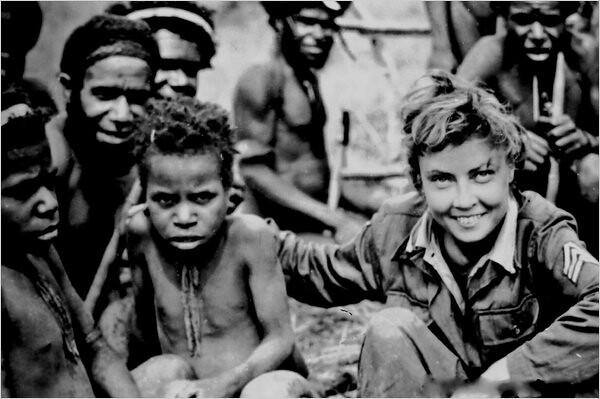 Picture of one of the survivor with a native New Guinean