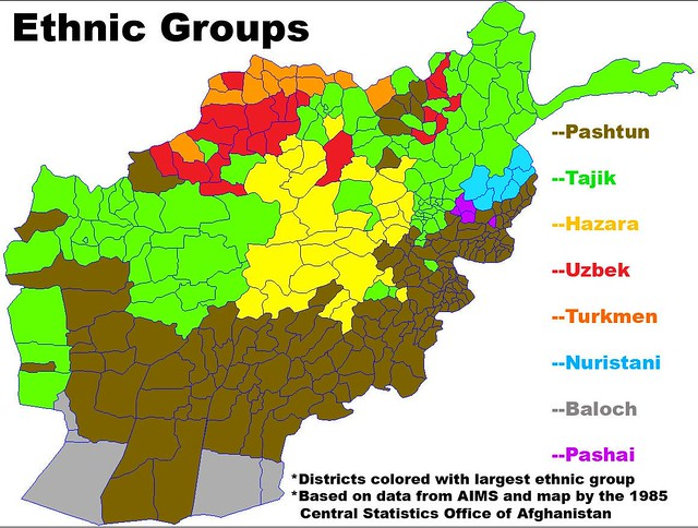 Map ethnic groups Afghanistan