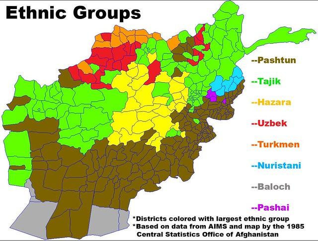 Mapa dos grupos étnicos no Afeganistão
