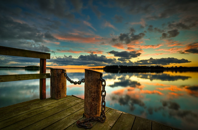 Sunsets by an old dock