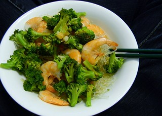 Prawn and Broccoli Broth with Kelp Noodles