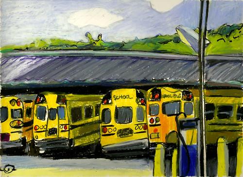brushpen urbanlandscape latesummer schoolbuses cedarfallsiowa calligraphypen neocoloriiwatersolublewaxpastels marciamilnerbrage