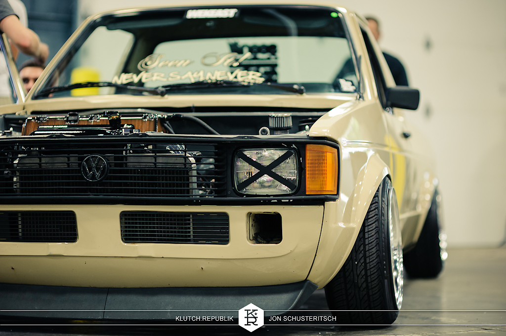 cream mk1 vw caddy k20a1 honda acura rsx motor at wekfest east 2012 new jersey convention center 3pc wheels static airride low slammed coilovers stance stanced hellaflush poke tuck negative postive camber fitment fitted tire stretch laid out hard parked seen on klutch republik