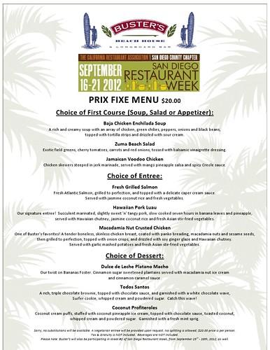 Buster's Restaurant Week Menu