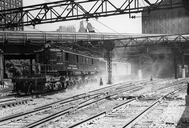 Train leaving Terminal Tower Station 1930