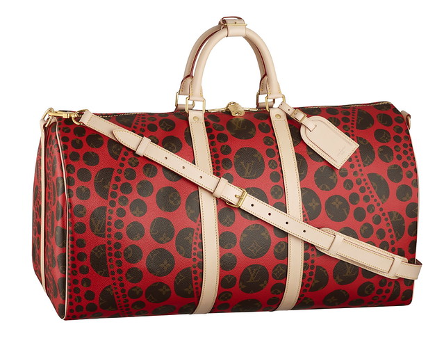 Keepall 55 Bandouliere Monogram Pumpkin Dots red