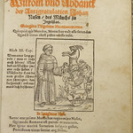 Satirical woodcut illustration of the Roman Catholic polemicist Johannes Nas. Used by Nicolaus Henricus of Oberursel