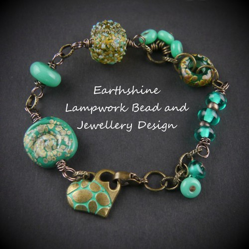 Brass and Lampwork Bracelet, teal