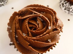 Chocolate Rose cupcake with sparkling sugar.