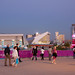 The Olympic Park: Waterpolo areana and the Aquatics Centre at twilight