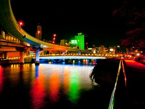 bridge blue light red reflection building japan architecture night river lumix landscapes osaka nightview gf2