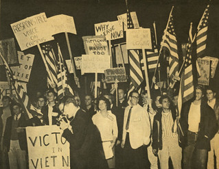 Students take part in a counter-protest supporting the Vietnam War in 1965